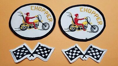 4 NOS Original Chopper Motorcycle & Checkered Flags Patches
