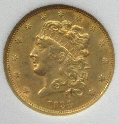 1834 Classic Head $5 Gold -Plain 4- Near Choice Uncirculated Rare This Nice!