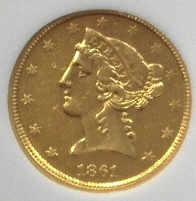 1861-D Liberty Head $5 Gold Nearly Uncirculated Extra Rare! Only 75-100 Known!