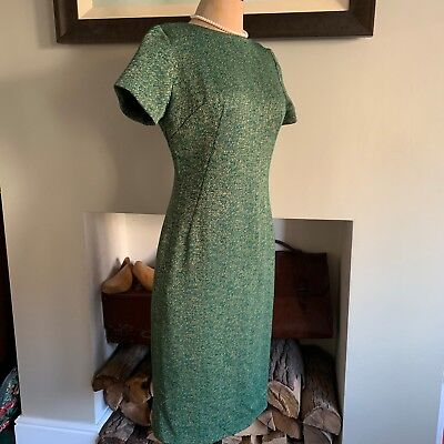 Womens 12 38 Slimuette Vintage Dress Gold Green 1950S Style Party