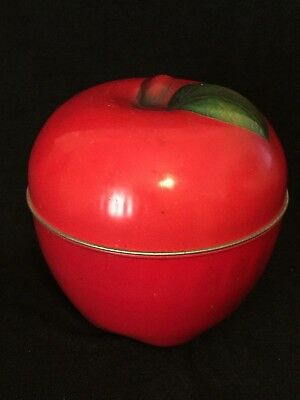 Vintage Red Apple Tin Box Canister Candy Cookie Jar Lithograph Green Leaf