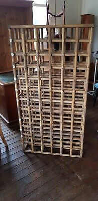 Vintage Antique rattan bamboo Champagne Wine rack 72 bottles very rare