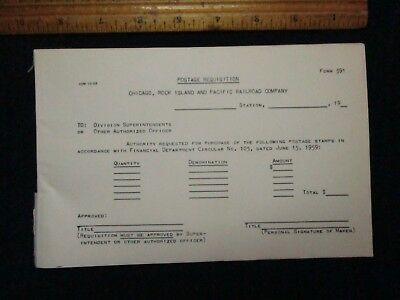 Vintage Railroad Forms/chicago,rock Island & Pacific Rr Co./postage Req. 1959