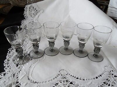 6 X Vintage Liquer Glasses With Grey Twisted Stems