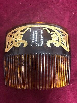 Antique Victorian Faux Tortoiseshell Hair Comb, 18 Kt.Sterling Silver