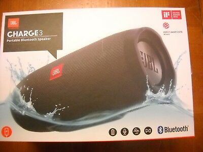 JBL Charge 3 Waterproof Portable Rechargeable Bluetooth Speaker Black NEW IN BOX