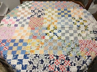 """Vintage 82"""" Long By 40"""" Wide Patchwork Quilt Top Great Colors Needs Some Repair"""