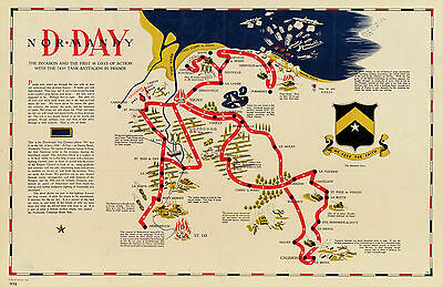 Map D-day Normandy France 743rd Tank Battalion Vintage History Wall Poster Print