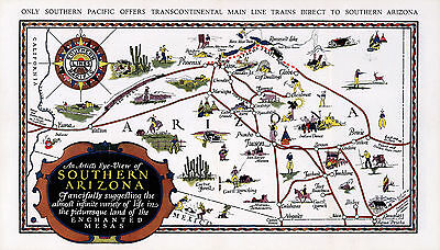 Early Map Southern Arizona Mesas Vintage Wall Poster Art Print History Geneology