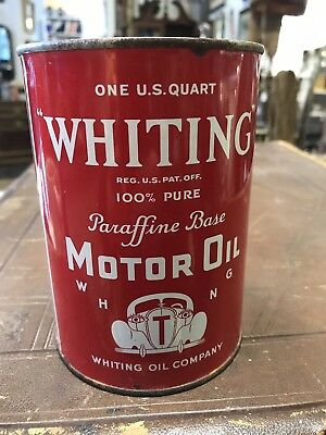Vintage Original Whiting Motor Oil Can Metal Car Graphic One Quart