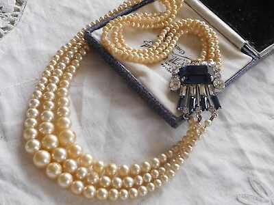 Vintage 1950s Triple Strand Glass Pearl Necklace HUGE CRYSTAL CLASP