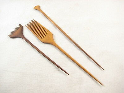Antique Japanese Taisho Era Boxwood Kanzashi Kushi Comb Hair Piece (Set Of 3)