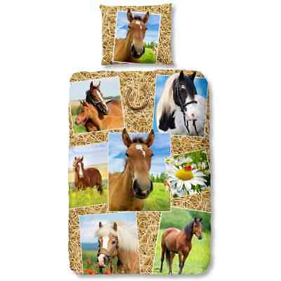Good Morning Housse de couette 5752-P HORSES 140x200/220cm Multicolore