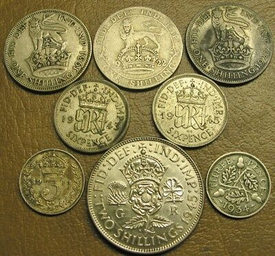 Lot Of Eight (8) Silver England Coins, 1913 To 1945, Various Denominations