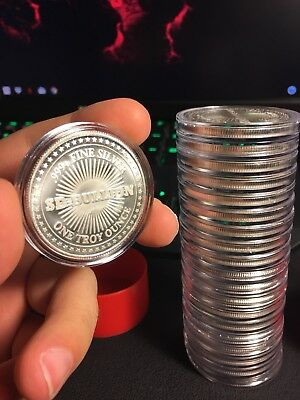 20 Rounds Of 1 Troy Oz. .999 Fine Silver SD Bullion In Direct Fit Cases + Tube