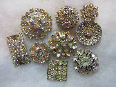 Beautiful Lot Vintage Super Bling/ Glass Jewel/ Rhinestone/ In Metal Buttons
