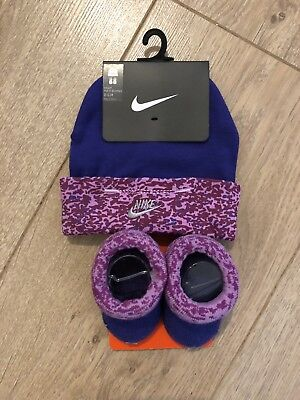 Genuine Nike Baby Boys Girls  Booties and Hat Set Gift For 0-6 Months