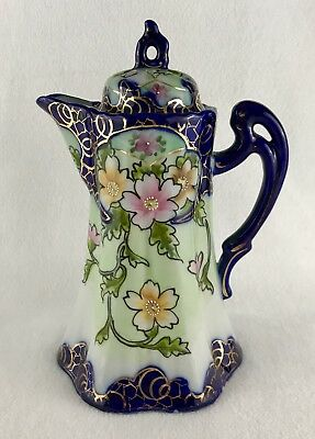 Antique Japanese Kutani Porcelain Tall Coffee Chocolate Tea Pot Blue Gold Floral