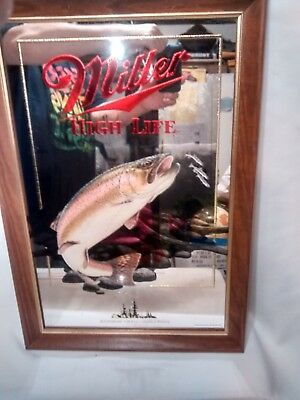 1992 Miller High Life Rainbow Trout Mirror/Sign 1st Print 5th in Series
