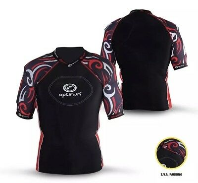 Optimum Razor Protective Top Padded Rugby Black Red New !