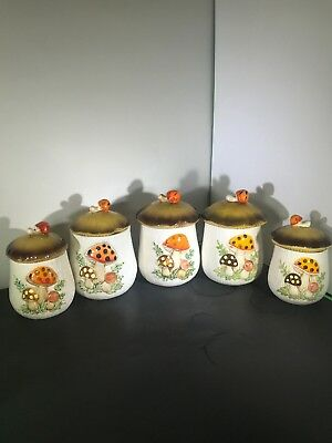 MERRY MUSHROOM Sears Roebuck & Co Japan 5 Piece Canister Set SEE DESCRIPTION