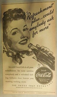 """Coca-Cola ad: """"Could Anybody Ask For More"""" 1930's ~ 6.5 x 9 inches 1930's"""