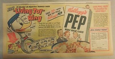 Kellogg's Cereal Ad: Donald Duck Ring Premium from 1940's 7.5 x 15 inches