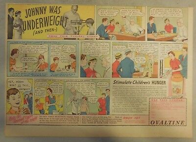 """Ovaltine Drink Ad: """"Underweight Johnny!"""" Mug from 1930's-1950's 11 x 15 inches"""