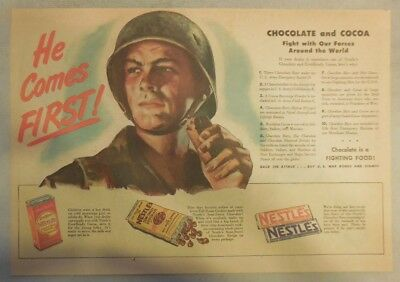 Nestle's Chocolate Bars Ad: He Comes First!  WW 2 1940's Size:11 x 15 inches