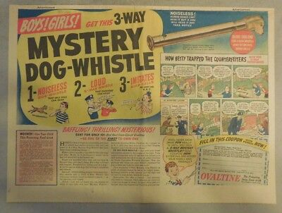 """Ovaltine Drink Ad: """"Mystery Dog Whistle Premium"""" 1930's-1950's 11 x 15 inches"""