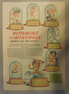 """Ovaltine Drink Ad: """"Vitamins and Minerals!""""  from 1930's-1940's 11 x 15 inches"""
