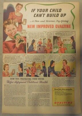 """Ovaltine Drink Ad: """"Helps Your Child Build!""""  from 1930's-1940's 11 x 15 inches"""