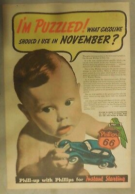 """Phillips 66 Gas Ad: """"I'm Puzzled"""" ! from 1937 Size: 11 x 15 inches"""