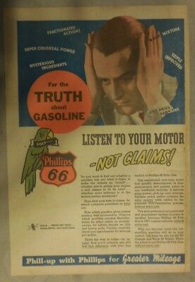 """Phillips 66 Gas Ad: """"Listen To Your Motor !"""" ! from 1937 Size: 11 x 15 inches"""