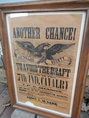 Vintage American Civil War 7th Indiana Cavalry Recruiting Poster