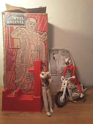 1973 Evel Knievel Stunt Cycle With Extra Figure And Box