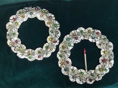 """Vintage two Christmas SILVER FOIL ROSETTES & Glass Balls 10"""" Wreaths holiday"""