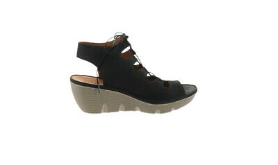 50e7df411a0 Clarks Artisan Leather Ghillie Wedge Sandals Clarene Grace Black 10M NEW  A291713