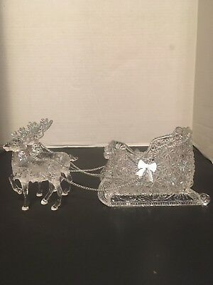 Sterling Acrylic Santa Sleigh and Reindeer