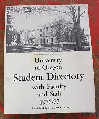 Vintage University of Oregon Student Directory College Alumni 1976-77