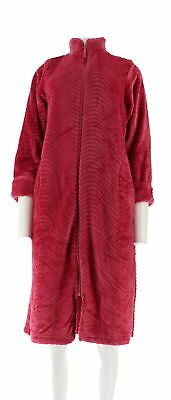 7d9d9bd4dc Stan Herman Petite Silky Plush Trimmed Wave Long Zip Robe Rose PS NEW  A294383