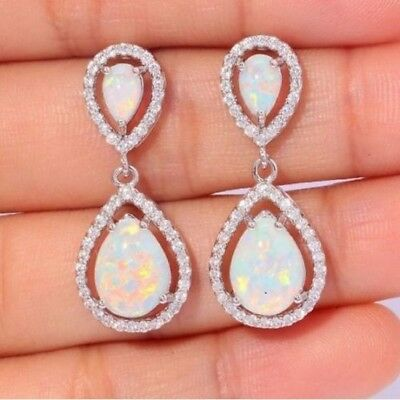 925 Silver White Topaz Opal Dangle Stud Earrings Women Fashion Wedding Birthday