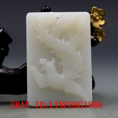 Chinese Natural Hetian Jade Hand-carved Phoenix Pendant L05-1
