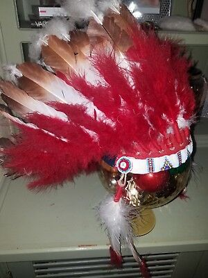 Vintage 1950s Head Dress Beaded Native American Red Brown and white Feathers
