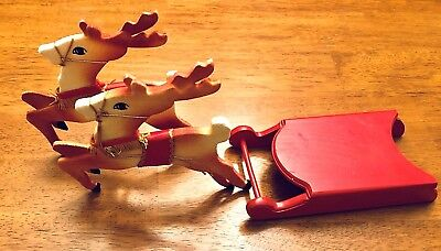 Vintage 1950's Wood Sleigh & Folding Felt Reindeer Japan Christmas Decoration