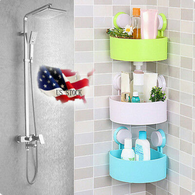 Plastic Suction Cup Bathroom Kitchen Corner Storage Rack Organizer Boxes USA