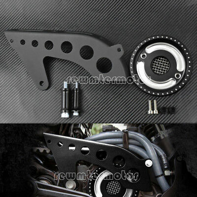 Matte Front Pulley Guard + Chrome Pulley Cover For Harley Sportster XL 2004-2017
