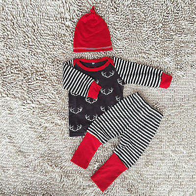 Newborn Baby Boys Girls Infant Tops Deer Pants Striped Leggings Hat Outfits Set