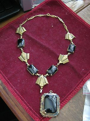 "Egyptian Revival ART DECO 13"" Necklace & Pendant BLACK ONYX MOURNING, Gold Tone"