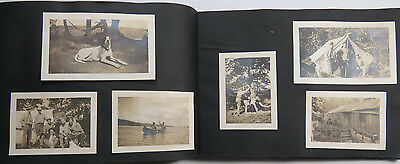 Snapshot Album 206 Photographs Camp Briarcliff Dogs Boating Men Trick Photo